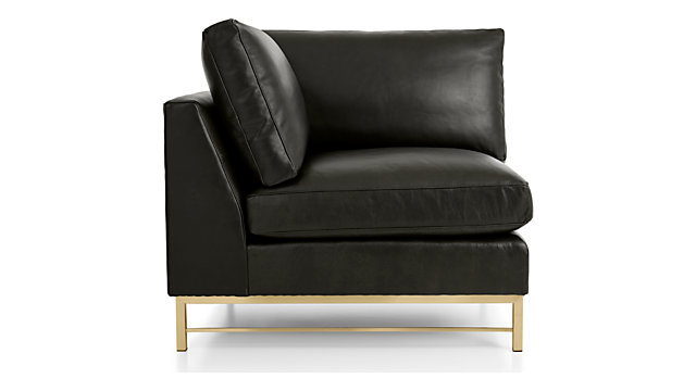 Tyson Leather Right Corner Chair with Brass Base shown in Logan, Smoke