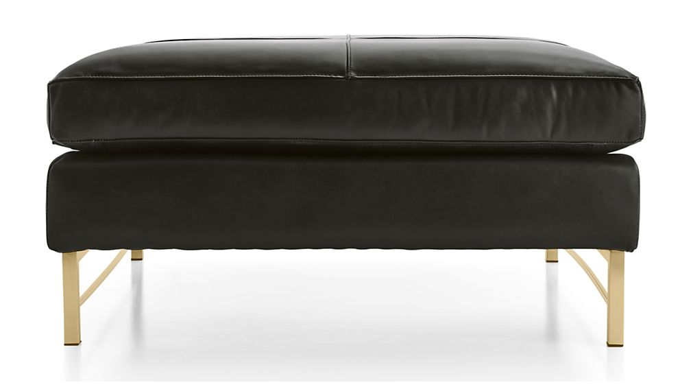 Tyson Leather Square Cocktail Ottoman with Brass Base - Image 2 of 4