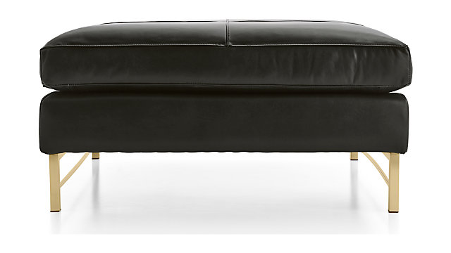 Tyson Leather Square Cocktail Ottoman with Brass Base shown in Logan, Smoke
