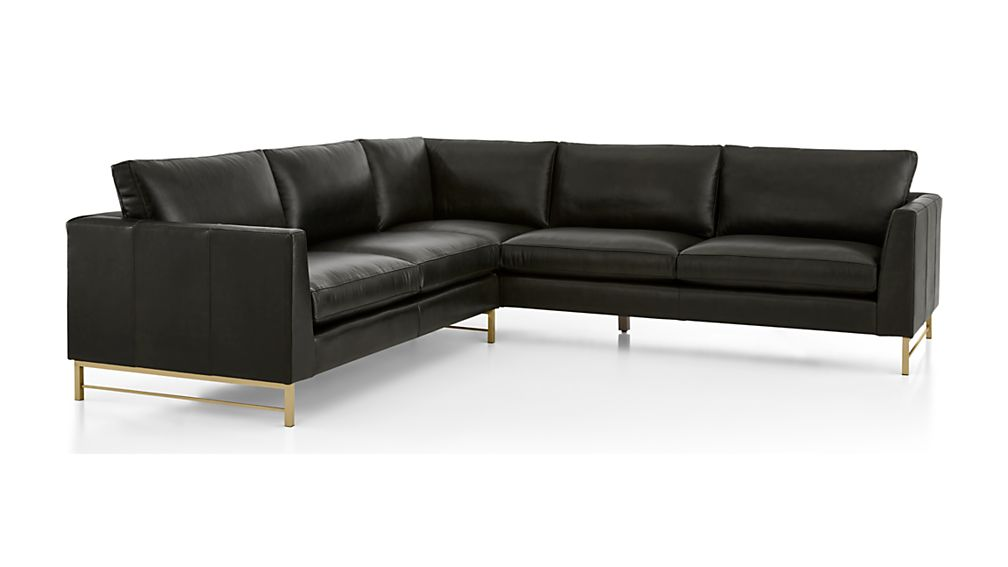 Tyson Leather 2-Piece Right Arm Corner Sofa Sectional with Brass Base - Image 2 of 3