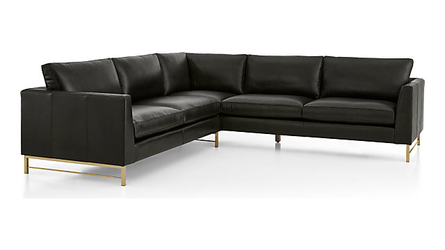 Tyson Leather 2-Piece Right Arm Corner Sofa Sectional with Brass Base(Left Arm Sofa, Right Arm Corner Sofa) shown in Logan, Smoke