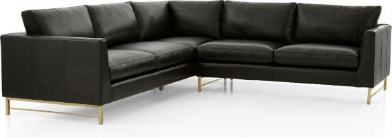 Tyson Leather 2-Piece Left Arm Corner Sofa Sectional with Brass Base(Left Arm Corner Sofa, Right Arm Sofa) shown in Logan, Smoke