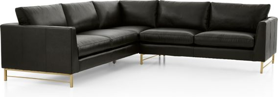 Tyson Leather 2-Piece Left Arm Corner Sofa Sectional with Brass Base(Left Arm Corner Sofa, Right Arm Sofa) shown in Logan, Smoke