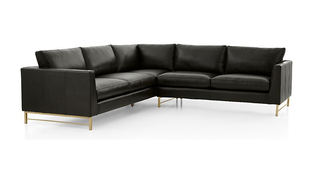 Tyson Leather 2-Piece Left Arm Corner Sofa Sectional with Brass Base - Image 2 of 3