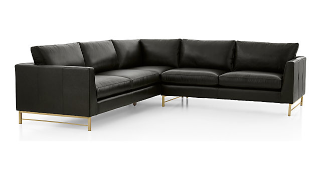 Tap To Zoom Tyson Leather 2 Piece Left Arm Corner Sofa Sectional With Br Base