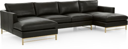 Tyson Leather 3-Piece Chaise Sectional with Brass Base(Left Arm Chaise, Armless Loveseat, Right Arm Chaise) shown in Logan, Smoke