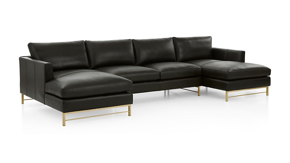 Tyson Leather 3-Piece Chaise Sectional with Brass Base - Image 2 of 3