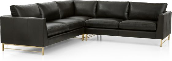 Tyson Leather 3-Piece Left Corner Sectional with Brass Base(Left Arm Sofa, Left Corner Chair, Right Arm Sofa) shown in Logan, Smoke
