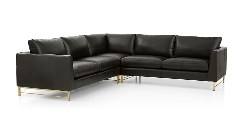 Tyson Leather 3-Piece Left Corner Sectional with Brass Base - Image 2 of 2