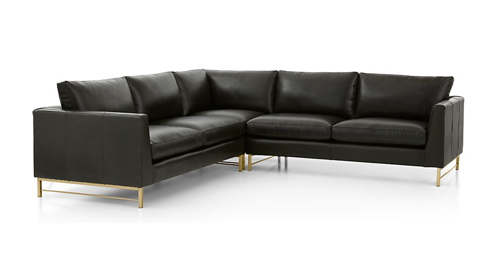 Tyson Leather 3-Piece Right Corner Sectional with Brass Base - Image 2 of 3