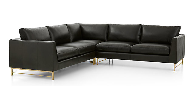 Tyson Leather 3-Piece Right Corner Sectional with Brass Base(Left Arm Sofa, Right Corner Chair, Right Arm Sofa) shown in Logan, Smoke