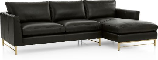 Tyson Leather 2-Piece Right Arm Chaise Sectional with Brass Base(Left Arm Sofa, Right Arm Chaise) shown in Logan, Smoke
