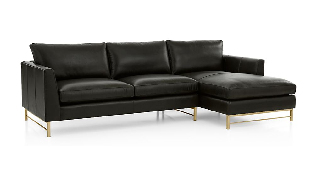 Tyson Leather 2-Piece Right Arm Chaise Sectional with Brass Base - Image 2 of 3