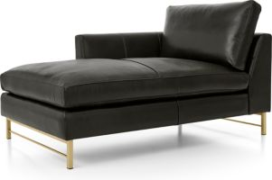Tyson Leather Left Arm Chaise with Brass Base shown in Logan, Smoke