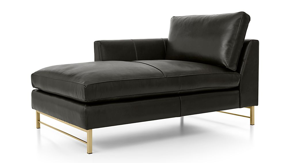 Tyson Leather Left Arm Chaise with Brass Base - Image 2 of 3