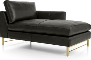 Tyson Leather Right Arm Chaise with Brass Base shown in Logan, Smoke