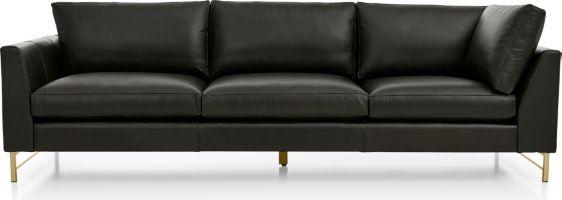 Tyson Leather Left Arm Corner Sofa with Brass Base shown in Logan, Smoke