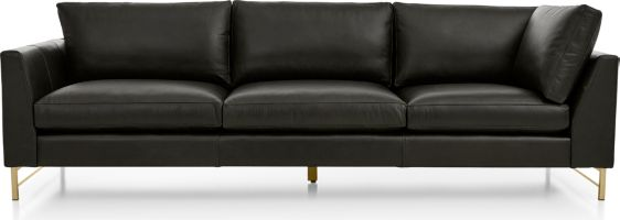 Tyson Leather Left Arm Corner Sofa with Brass Base shown in Logan, Smoke