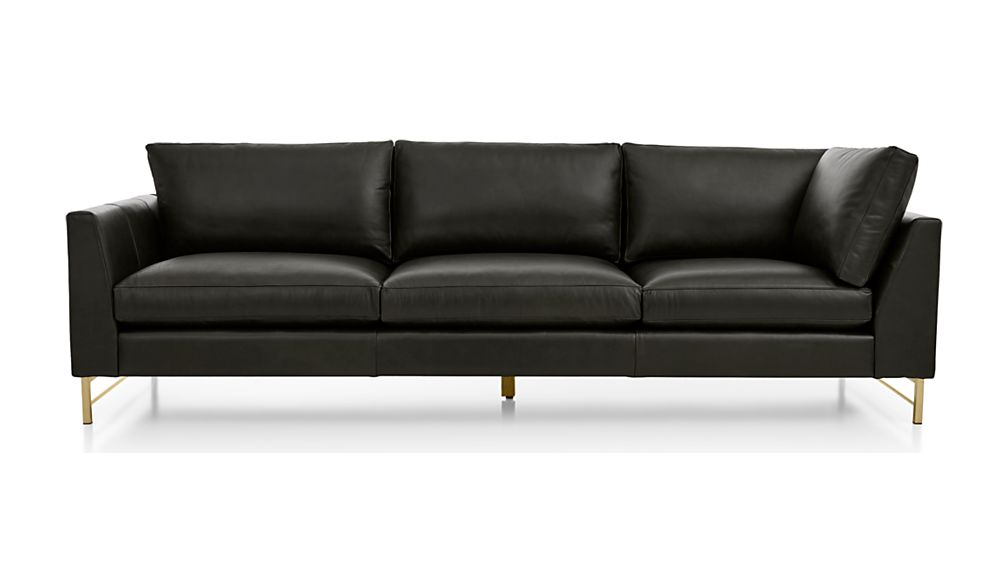 Tyson Leather Left Arm Corner Sofa with Brass Base - Image 2 of 5