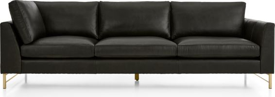 Tyson Leather Right Arm Corner Sofa with Brass Base shown in Logan, Smoke