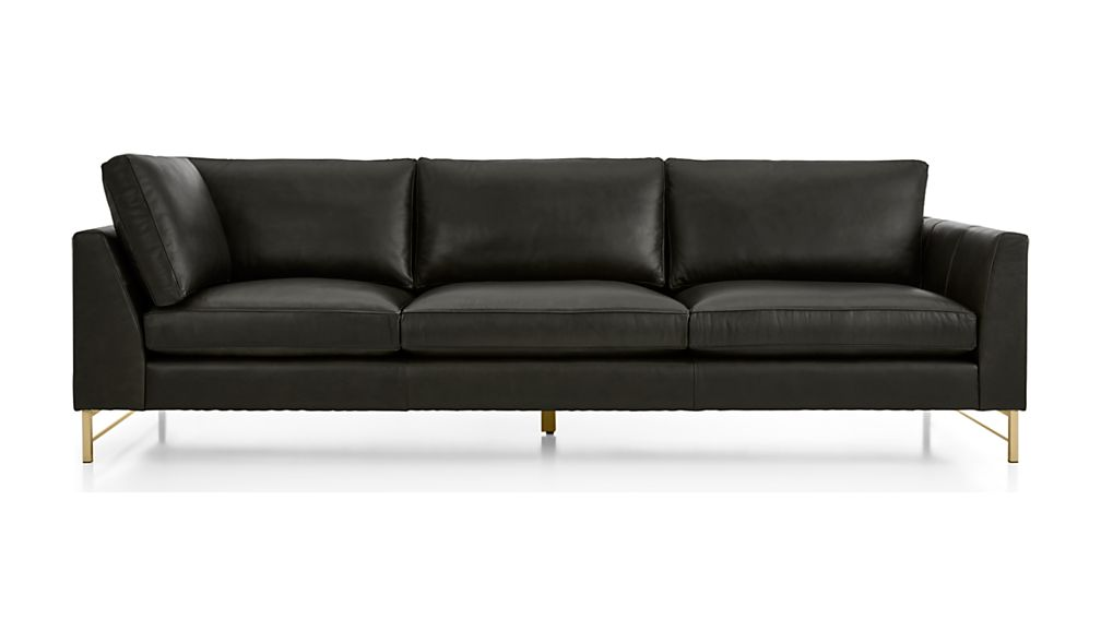 Tyson Leather Right Arm Corner Sofa with Brass Base - Image 2 of 5