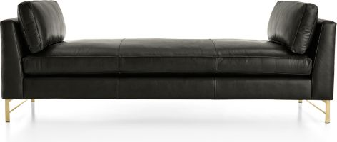 Tyson Leather Daybed with Brass Base shown in Logan, Smoke