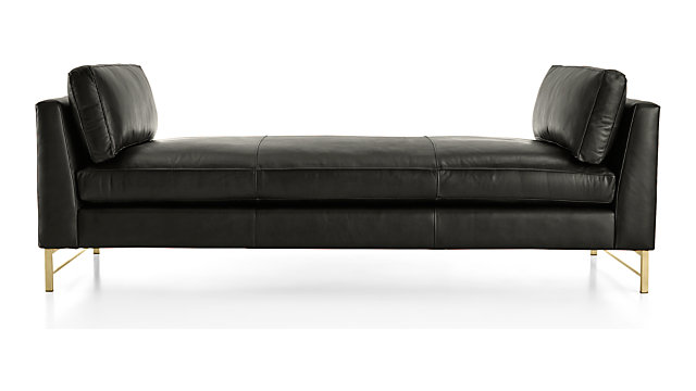 Tyson Leather Daybed With Brass Base Reviews Crate And Barrel - Logan-leather-bed-with-adjustable-headboard