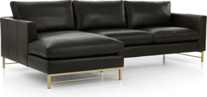 Tyson Leather 2-Piece Left Arm Chaise Sectional with Brass Base(Left Arm Chaise, Right Arm Sofa) shown in Logan, Smoke