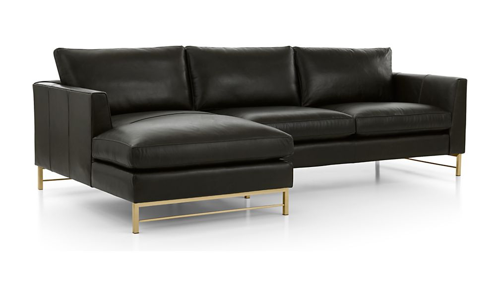 Tyson Leather 2-Piece Left Arm Chaise Sectional with Brass Base - Image 2 of 2