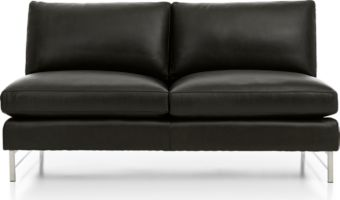 Tyson Leather Armless Loveseat with Stainless Steel Base shown in Logan, Smoke