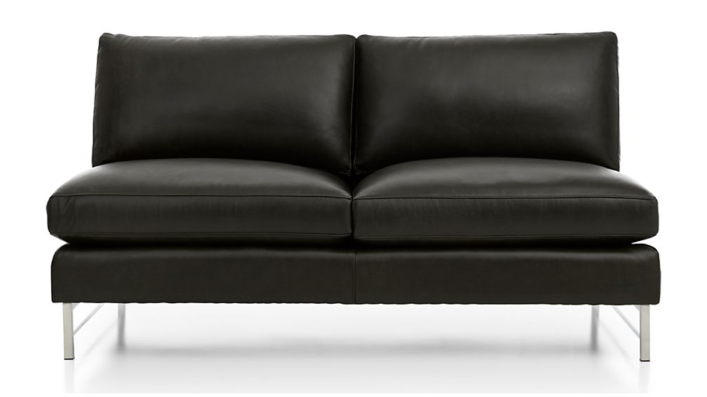 Tyson Leather Armless Loveseat with Stainless Steel Base - Image 2 of 5