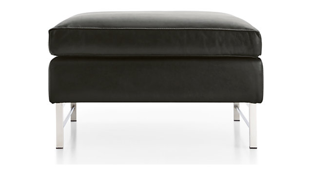 Tyson Leather Ottoman with Stainless Steel Base shown in Logan, Smoke