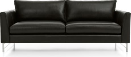 Tyson Leather Sofa with Stainless Steel Base shown in Logan, Smoke