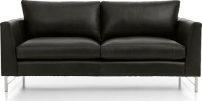 Tyson Leather Apartment Sofa with Stainless Steel Base shown in Logan, Smoke