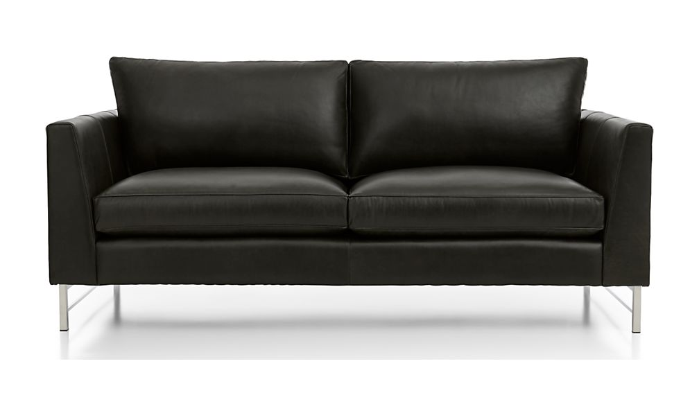 Tyson Leather Apartment Sofa With Stainless Steel Base