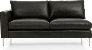 Tyson Leather Left Arm Apartment Sofa with Stainless Steel Base shown in Logan, Smoke