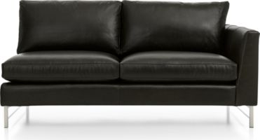 Tyson Leather Right Arm Apartment Sofa with Stainless Steel Base shown in Logan, Smoke