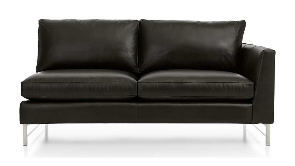 Tyson Leather Right Arm Apartment Sofa with Stainless Steel Base - Image 2 of 5