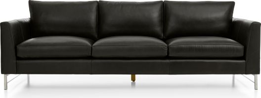 """Tyson Leather 102"""" Grande Sofa with Stainless Steel Base shown in Logan, Smoke"""