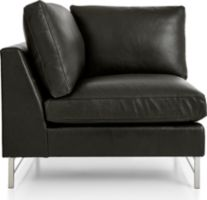 Tyson Leather Left Corner Chair with Stainless Steel Base shown in Logan, Smoke