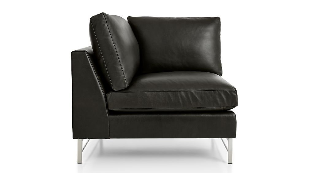 Tyson Leather Left Corner Chair with Stainless Steel Base - Image 2 of 4