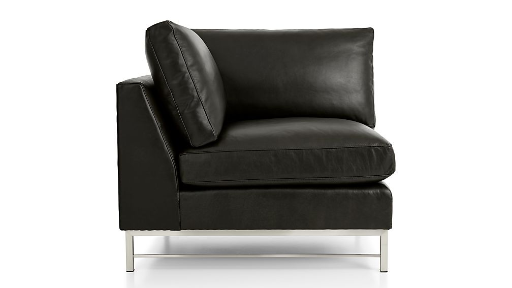 Tyson Leather Right Corner Chair with Stainless Steel Base - Image 2 of 4