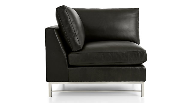 Tyson Leather Right Corner Chair with Stainless Steel Base shown in Logan, Smoke