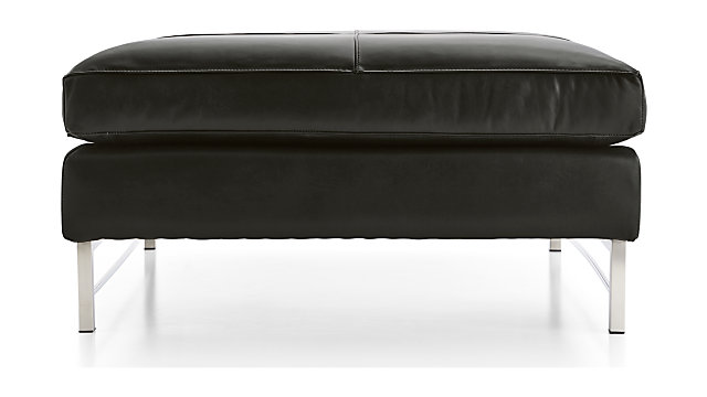 Tyson Leather Square Cocktail Ottoman with Stainless Steel Base shown in Logan, Smoke