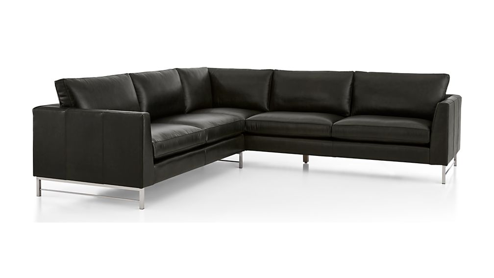 Tyson Leather 2-Piece Right Arm Corner Sofa Sectional with Stainless Steel Base - Image 2 of 3