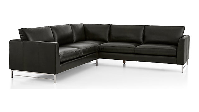 Tyson Leather 2-Piece Right Arm Corner Sofa Sectional with Stainless Steel Base(Left Arm Sofa, RIght Arm Corner Sofa) shown in Logan, Smoke
