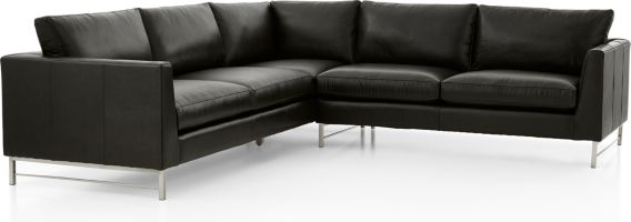 Tyson Leather 2-Piece Left Arm Corner Sofa Sectional with Stainless Steel Base(Left Arm Corner Sofa, Right Arm Sofa) shown in Logan, Smoke