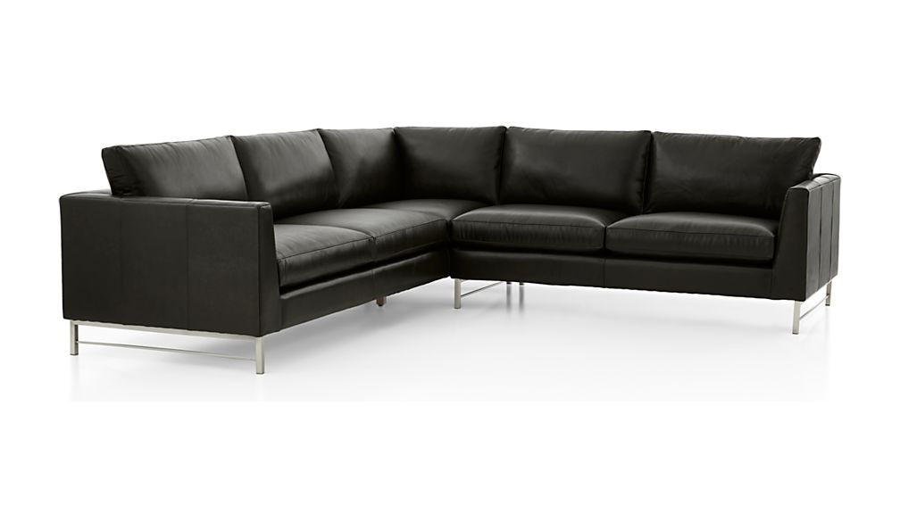 Tyson Leather 2-Piece Left Arm Corner Sofa Sectional with Stainless Steel Base - Image 2 of 3