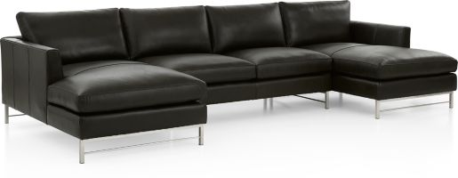 Tyson Leather 3-Piece Chaise Sectional with Stainless Steel Base(Left Arm Chaise, Armless Loveseat, Right Arm Chaise) shown in Logan, Smoke