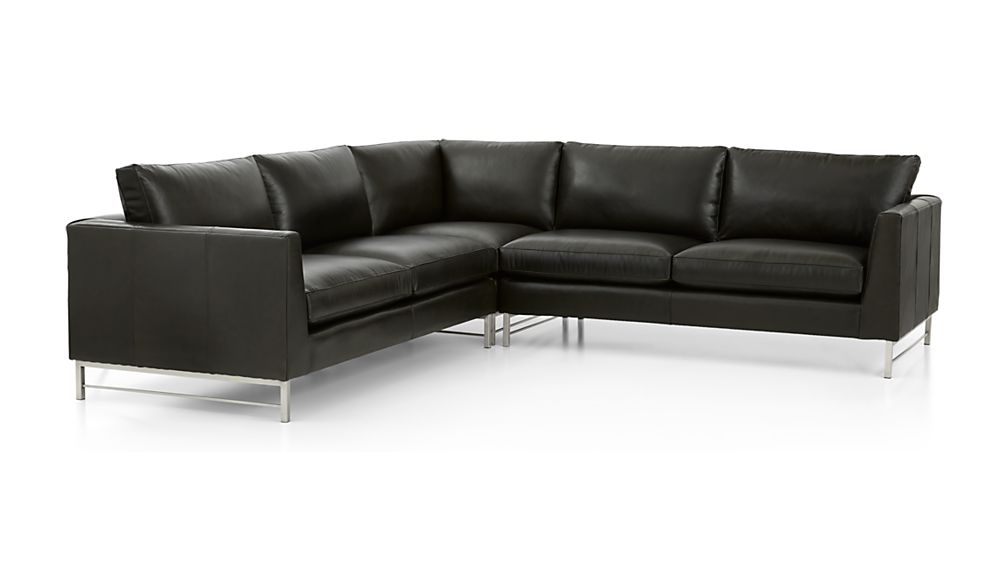 Tyson Leather 3-Piece Left Corner Sectional with Stainless Steel Base - Image 2 of 3